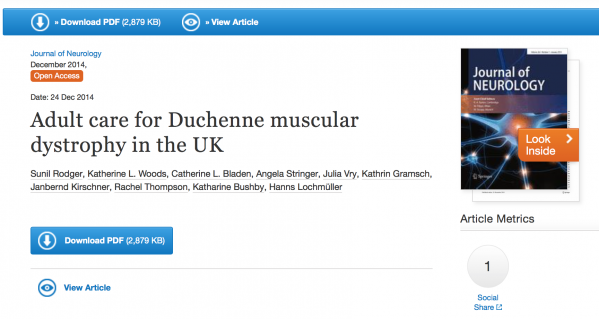 Adult Care for DMD in the UK paper